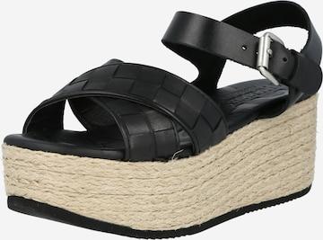 SHABBIES AMSTERDAM Sandale in Schwarz