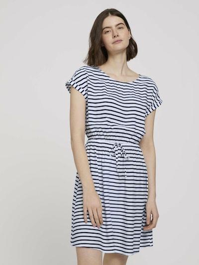 TOM TAILOR DENIM Kleid in dunkelblau / weiß, Modelansicht