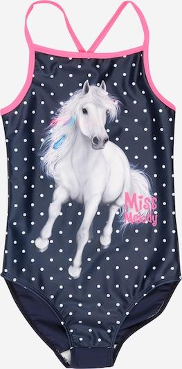Miss Melody Maillot de bain en turquoise / bleu nuit / gris clair / rose / blanc, Vue avec produit