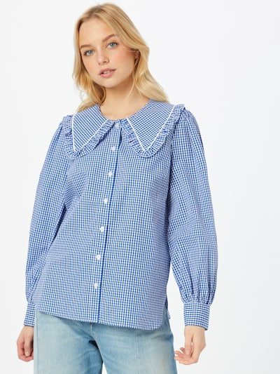 SECOND FEMALE Blouse 'Toto' in de kleur Lichtblauw / Wit, Modelweergave