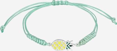 ELLI Armband Ananas, Textil-Armband in gelb / grasgrün / pastellgrün / silber, Produktansicht
