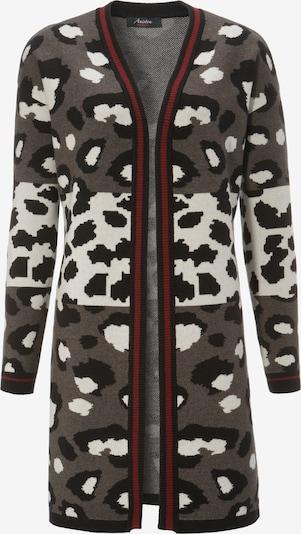 Aniston CASUAL Strickjacke in grau / rot / schwarz / weiß, Produktansicht