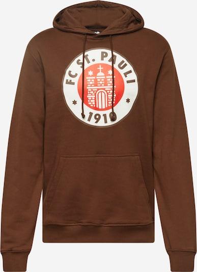 FC St. Pauli Sweater majica u smeđa / crvena / bijela, Pregled proizvoda