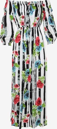 Madam-T Kleid 'Ronda' in hellblau / grün / rot / schwarz / weiß, Produktansicht