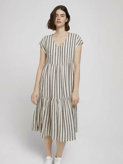 TOM TAILOR DENIM Kleid in graumeliert / weiß, Modelansicht