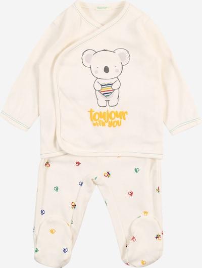 UNITED COLORS OF BENETTON Pyjama in creme / goldgelb / dunkelgrau / flieder / mischfarben, Produktansicht