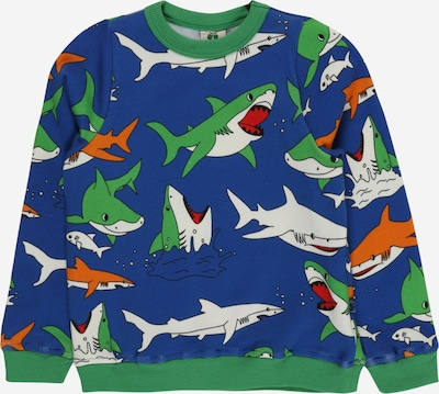 Småfolk Sweatshirt 'Shark' in dunkelblau / grün / orange / weiß, Produktansicht