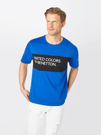 UNITED COLORS OF BENETTON Тениска в синьо / черно / бяло: Изглед отпред