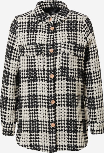 River Island Kevad-sügisjope 'Check Boucle Overshirt' must / valge, Tootevaade