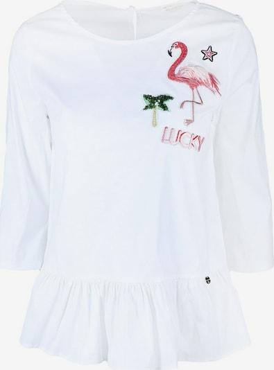 Rich & Royal Bluse in grasgrün / rosa / dunkelpink / schwarz / weiß, Produktansicht