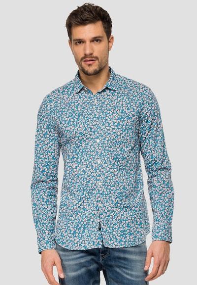 REPLAY Hemd Blumen Print in blau: Frontalansicht