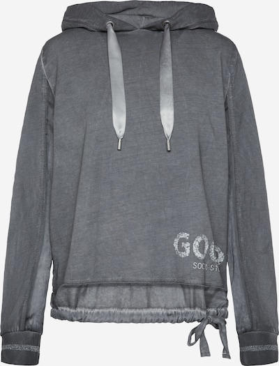 Soccx Kapuzenshirt im Materialmix mit Label Prints in dunkelgrau, Produktansicht