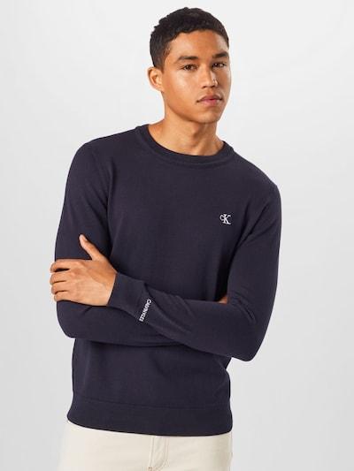 Calvin Klein Jeans Pulover | nočno modra / bela barva: Frontalni pogled