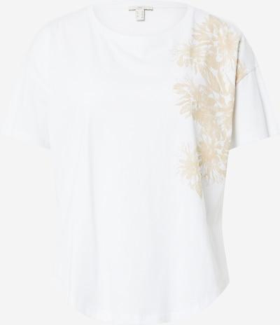 EDC BY ESPRIT Тениска в светлобежово / бяло, Преглед на продукта