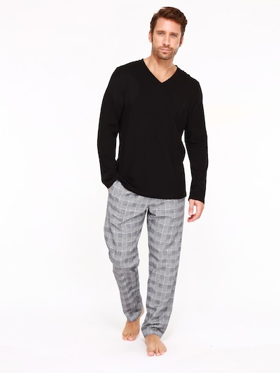 HOM Pyjama lang ' Benjamin ' in de kleur Grijs / Zwart, Modelweergave