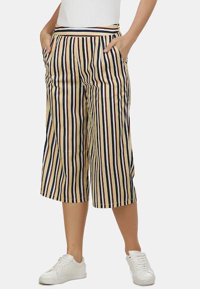 usha BLUE LABEL Pantalon en bleu marine / jaune clair / rouge foncé / blanc, Vue avec modèle