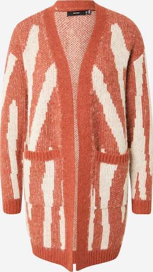 VERO MODA Strickjacke 'ZELMA' in rotmeliert / weiß, Produktansicht