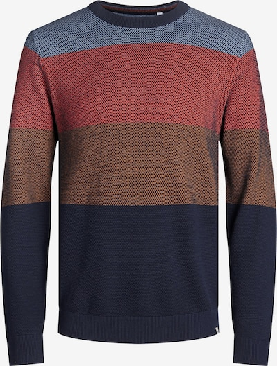 JACK & JONES Pullover 'Finn' in navy / taubenblau / braun / pastellrot, Produktansicht