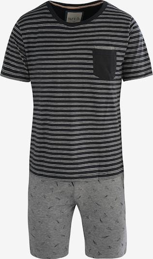 Phil & Co. Berlin Schlafanzug-Set ' Shorty ' in grau / schwarz, Produktansicht