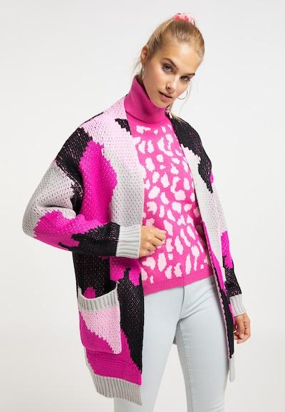 MYMO Strickjacke in grau / pink / rosa / schwarz, Modelansicht