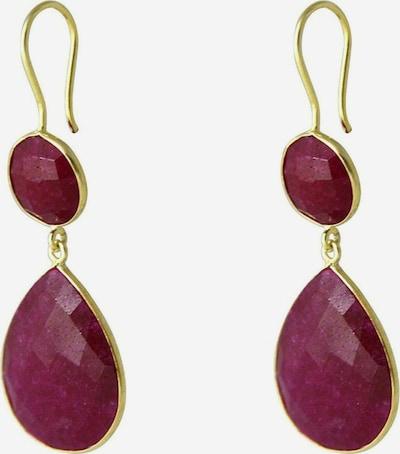 Gemshine Ohrringe in gold / weinrot, Produktansicht