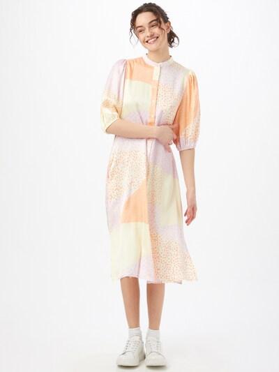 mbym Kleid 'Melika' in beige / helllila / apricot / mandarine, Modelansicht