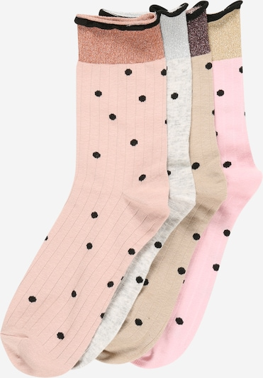VERO MODA Socken in nude / hellbeige / hellgrau / rosa / schwarz, Produktansicht