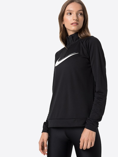 NIKE Athletic Sweatshirt in Grey / Black / White: Frontal view