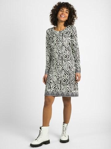 mint & mia Kleid Amanda Allover Animal-Print dekorativ an Ärmelenden und Saum in Mischfarben