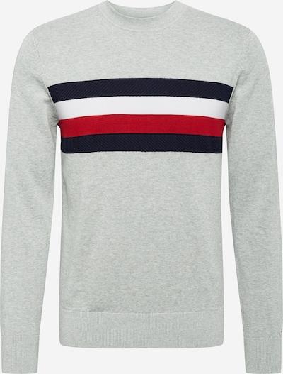 TOMMY HILFIGER Pullover in navy / grau / rot / weiß, Produktansicht