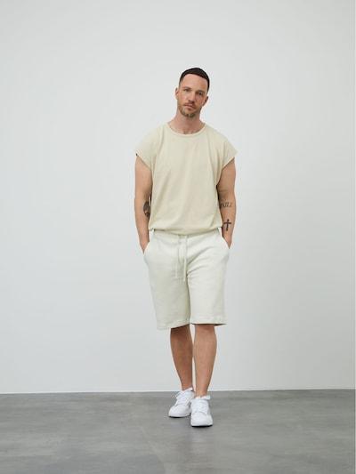 Pantaloni 'Tino' DAN FOX APPAREL pe alb, Vizualizare model