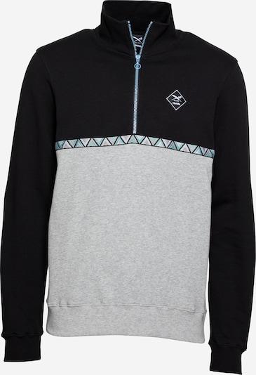 Iriedaily Sweater majica 'Monte Banda' u tirkiz / siva melange / crna, Pregled proizvoda