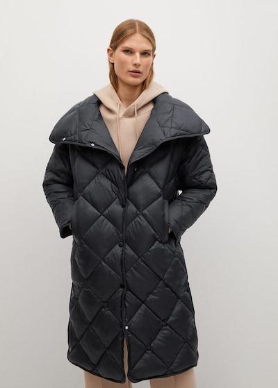 MANGO Zimski plašč | črna barva, Prikaz modela