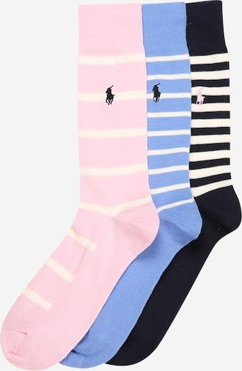 POLO RALPH LAUREN Chaussettes en bleu clair / rose / noir / blanc cassé, Vue avec produit