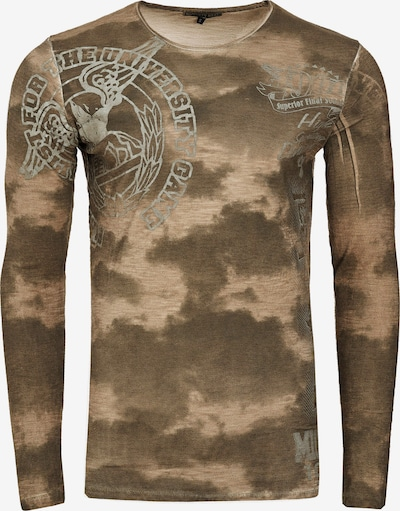 Rusty Neal Cooles Longsleeve mit angesagtem Allover-Print in khaki: Frontalansicht