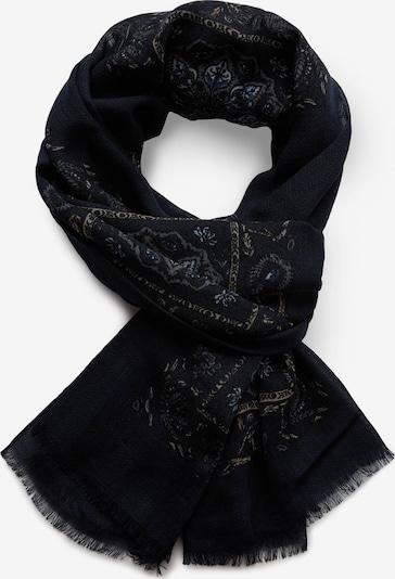 Boggi Milano Schal in navy / himmelblau / hellbraun / rauchgrau / schwarz, Produktansicht