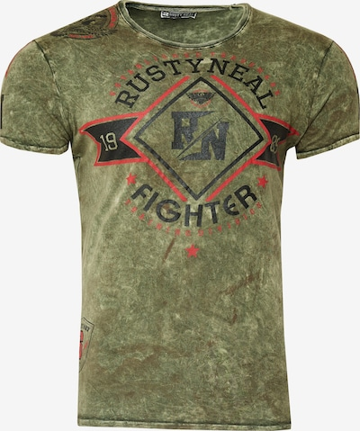 Rusty Neal T-Shirt Crewneck mit coolem Print in khaki: Frontalansicht