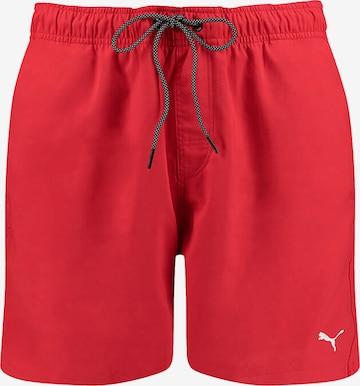 PUMA Athletic Swim Trunks in Red