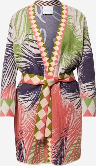 DELICATELOVE Gebreid vest 'Ida' in de kleur Blauw / Groen / Rosa / Wit, Productweergave
