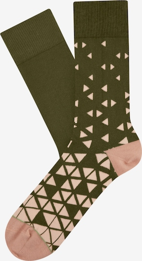 CHEERIO* Chaussettes 'Triangle Play' en olive / rose ancienne, Vue avec produit