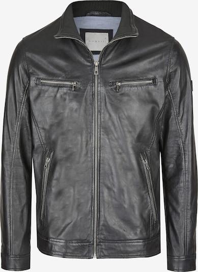 bugatti Lederjacke mit Ärmelriegeln und Reißverschlusstaschen in schwarz, Produktansicht