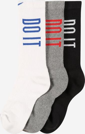 NIKE Sportsocken in royalblau / graumeliert / hellrot / schwarz / weiß, Produktansicht
