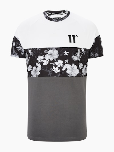11 Degrees Shirt 'TRIPLE PANEL FLORAL' in de kleur Grijs / Zwart / Wit, Productweergave