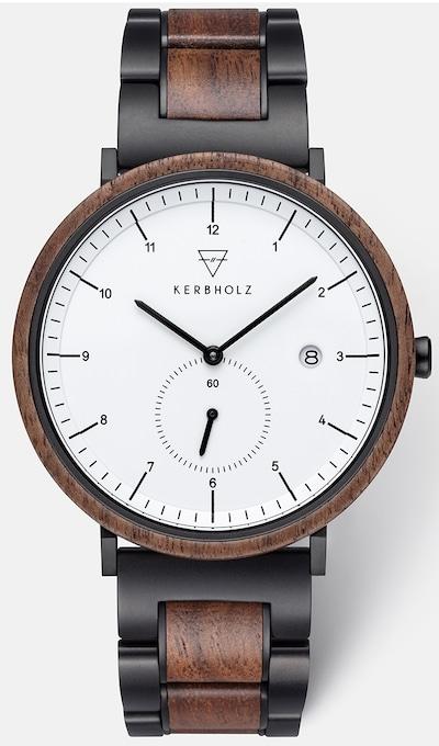 Kerbholz Uhr 'Anton' in braun / schwarz, Produktansicht