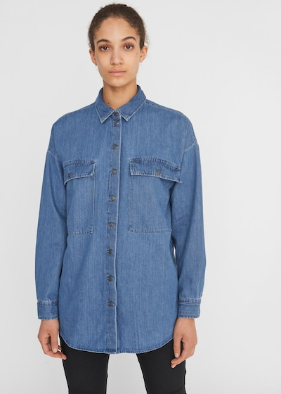 Noisy may Bluse 'Flanny' i blue denim, Modelvisning