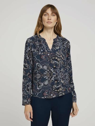 TOM TAILOR Bluse in dunkelblau / mischfarben, Modelansicht