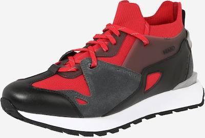 HUGO Sneaker high 'Cubite' i lysegrå / mørkegrå / rød / sort / hvid, Produktvisning