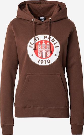 FC St. Pauli Sweat-shirt en marron châtaigne / rouge / blanc, Vue avec produit
