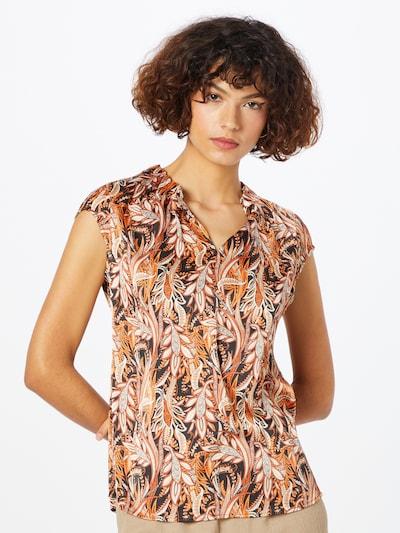 COMMA Bluse en orange / noir / blanc, Vue avec modèle