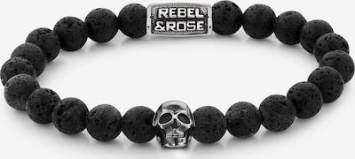 Rebel & Rose Armband in silbergrau / schwarz, Produktansicht